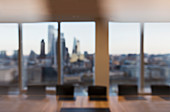 Modern business conference room overlooking city
