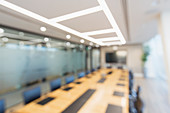 Long table in modern business conference room