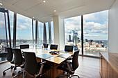 Modern highrise conference room, London, UK