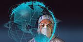 Scientist during global coronavirus pandemic