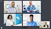 Doctors video conferencing during pandemic