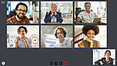 Creative business team video conferencing