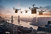Futuristic drones delivering packages, London, UK