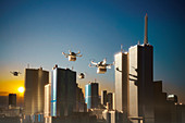 Drones delivering packages over city, London, UK