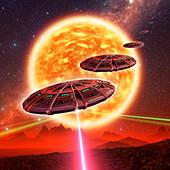 Spaceship firing on alien planet, illustration