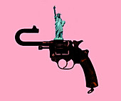 Gun control, conceptual illustration