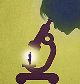 Examining business through a microscope, illustration
