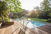 Sunny home showcase swimming pool and backyard