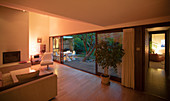 Illuminated home showcase interior