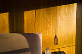 Sunlight over wood panelling