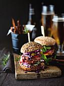 Pub lamb burger sliders, fries and beer