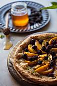 Peach blackberry honey galette