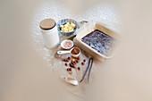 Heart-shape view chocolate brownie ingredients