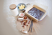 Brownie baking ingredients and batter