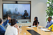 Business people video conferencing meeting