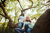 Happy father and daughters climbing tree