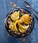 Pear and poppy seed cake with almonds