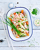 Trout and asparagus salad with chives