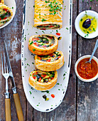 Vegetable involtini with tomato salsa