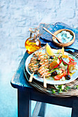 Souvlaki with Greek farmer's salad