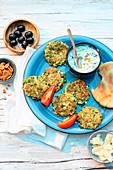 Greek zucchini fritters with tzatziki (Kolokithakia-Keftedes)