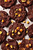 Dark chocolate and salted fudge cookies with milk
