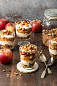 Homemade apple granola with cream cheese, vanilla, caramelized apples and cinnamon