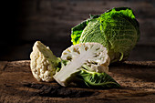 Cauliflower and savoy cabbage