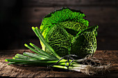 Savoy cabbage and spring onions