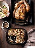Mustard-glazed roast chicken with Waldorf stuffing