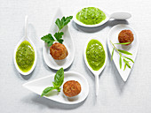Veal meatballs with a herb dip