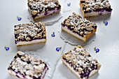 Vegan marzipan and blueberry cheesecake with almond crumbles