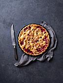 Cherry pie decorated with lattice