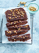 Chocolate bars with salted peanuts