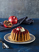 Coconut cake with pomegranate syrup