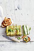 Asparagus, zucchini and feta terrine