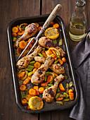 Chicken drumsticks in white wine with vegetables