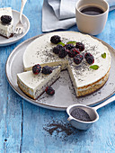 Cheesecake with blackberries and poppy seeds