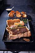 Roast beef in salt dough with horseradish sauce