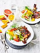 Barbecued Miso Chicken with Citrus Salad