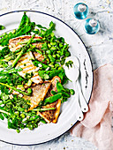 Barbecued Fish with Snow Pea and Asparagus Salad