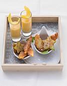 Fruit tempura and limoncello sabayon