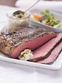Roast beef with garden vegetables