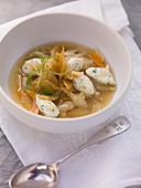 Bread soup with hake dumplings
