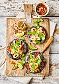 Calamari and chilli pizza with black crust