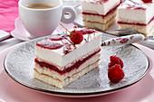 Raspberry cream cake, in layers