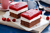Creamy chocolate cake with raspberry mousse