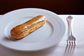 Caramel-glazed eclair