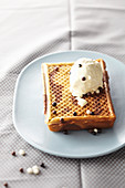 Black-and-white chocolate waffle with vanilla ice cream