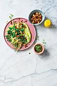 Spaghetti primavera with chorizo breadcrumbs